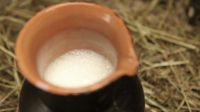 Clay jug with milk on hay stock video