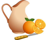 Clay jug with oranges Stock Images