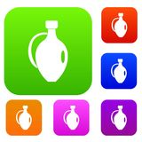 Clay jug set color collection. Clay jug set icon color in flat style isolated on white. Collection sings vector illustration Royalty Free Stock Photos