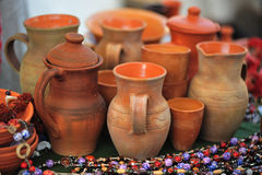 Clay jugs. Brown clay jugs and ceramic ornaments Stock Photo