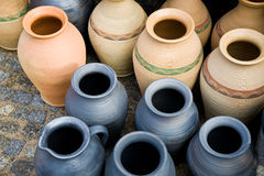 Clay jugs. On the fair Royalty Free Stock Photography