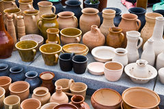 Clay jugs. On the fair Royalty Free Stock Photo
