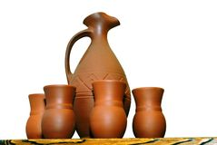 Clay jugs cups isolated on white Royalty Free Stock Image