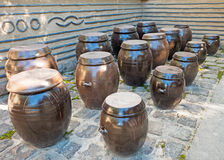 Clay jugs in a row Stock Photo