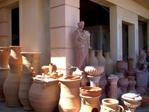 Pottery, Background with clay pots royalty free stock photos
