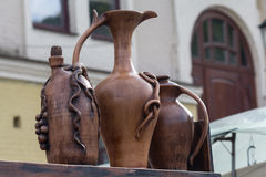 Clay jugs for wine Royalty Free Stock Photo