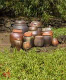 Clay Kimchi Pots. A group of traditional clay pots are waiting and ready to be filled with kimchi to age. The red hot chili peppers in the foreground are a key stock photo