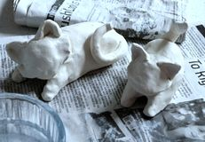 Clay kitties in the making Royalty Free Stock Image