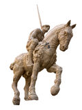 Clay Knight. A statue of a brown clay knight with horse isolated from background Stock Photo