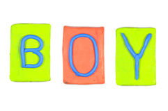 Clay letters. Words BOY Stock Photos