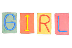 Clay letters. Words GIRL Stock Photos