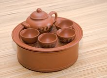Clay little table for tea Royalty Free Stock Images