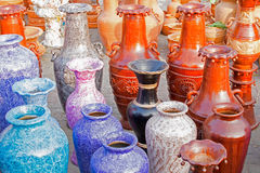 Clay made flower vases, handicraft items on display , Kolkata Stock Photography