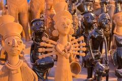 Clay made Goddess Durga, terracotta handicrafts on display stock photos