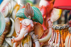 Clay made Lord Ganesha doll , handicraft items on display , Kolkata Stock Photography