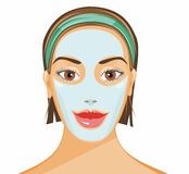 Clay mask. Vector illustration of a  girl with clay mask Stock Photography