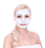Clay mask on beautiful blonde girl Royalty Free Stock Photos