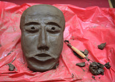 Clay mask handmade of human face Royalty Free Stock Photo