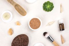 Clay mineral facial water and cosmetic tools. stock image