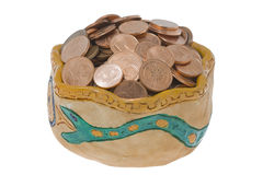 clay miskę monety Zdjęcie Stock