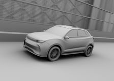 Clay model rendering of autonomous electric SUV driving on the highway. 3D rendering image vector illustration