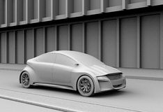 Clay model rendering of electric car on the street Royalty Free Stock Image