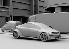Clay model rendering of taxi, van, truck at the crossroads Royalty Free Stock Photo