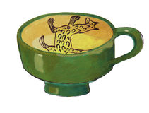 Clay mug - hand drawn color illustration, part of medieval series set Royalty Free Stock Images
