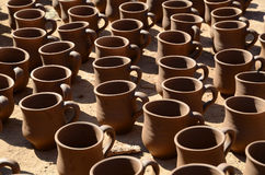 Clay mugs Royalty Free Stock Photos
