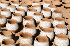 Clay mugs Stock Photo