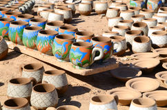 Clay mugs Stock Photos