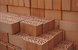 Clay orange bricks Royalty Free Stock Photos