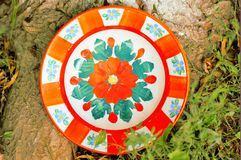 Clay painted plates Royalty Free Stock Images