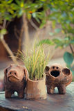 Clay pig decorating garden Royalty Free Stock Images