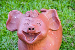 Clay pig snout smiling Royalty Free Stock Images