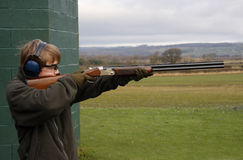 Clay pigeon shooting Royalty Free Stock Images