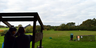 Clay pigeon shooting Royalty Free Stock Image