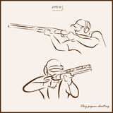 Clay pigeon shooting. Set of a vector Illustration shows a kind of sport. Clay pigeon shooting Stock Images