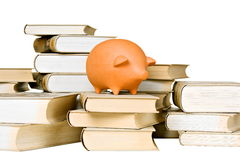 Clay piggy bank and old-fashioned books Stock Photography