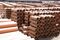 Clay Pipes at Factory Royalty Free Stock Image