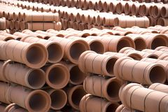 Clay Pipes at Factory. Image of clay pipes at a factory stockyard stock image