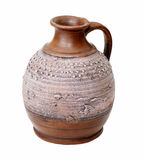 Clay pitcher. On a white background isolated Royalty Free Stock Images