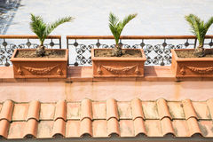 Clay Planters over Tile Roof Royalty Free Stock Photos
