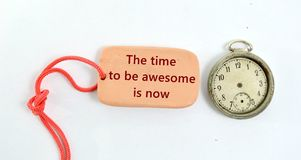 clay plate and vintage clock with text time to be awesome is now Royalty Free Stock Photo