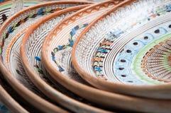 Clay plates pile Royalty Free Stock Photos