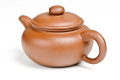 Clay pot. Brown clay pot on white background Stock Photography