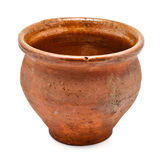 Clay Pot. Brown clay pot isolated on white background royalty free stock photos