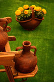 Clay pot. Standing on a planter, with decorative arrangements Royalty Free Stock Photography