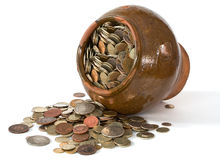 Clay pot with antique coins Stock Image