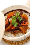 Clay pot beef rice, chinese cuisine Royalty Free Stock Photography